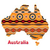 Illustration of Australia map with traditional ornament. Stock Photos