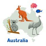 Illustration of Australia map with wildlife animals. Illustration of Australia map with wildlife animals Royalty Free Stock Photo