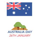 Australia Day on January 26th. Illustration of the Australian flag and landscape on white background with lettering that concerns the Australia Day on January royalty free illustration