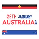 Australia Day on January 26th. Illustration of the Australian flag in the shape of feather with lettering that concerns to the Australia Day on January 26th Stock Photos