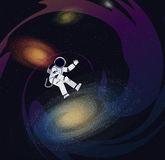 Illustration of austronaut, galaxy at in the space. Royalty Free Stock Image