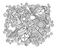 Illustration automatique tirée par la main de service de griffonnages mignons de bande dessinée Photo stock