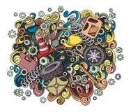 Illustration automatique tirée par la main de service de griffonnages mignons de bande dessinée Image stock
