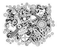 Illustration automatique tirée par la main de service de griffonnages mignons de bande dessinée Photographie stock