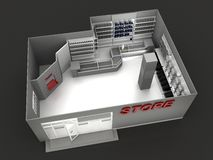 Illustration of automobile store Stock Images
