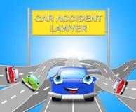 Illustration Autounfall-Rechtsanwalt-Shows Auto Solicitors 3d lizenzfreie abbildung