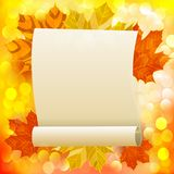 autumn background with leaves and place for text Stock Photography