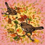 Illustration autumn. Birds on autumn background with red leaves. Royalty Free Stock Images