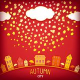 Illustration of autumn city Royalty Free Stock Images