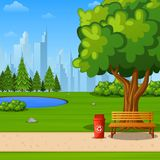 Autumn city park with bench under big tree and city background. Illustration of Autumn city park with bench under big tree and city background Stock Photography