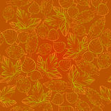 Illustration of Autumn graphic with color stylize seamless pattern. Doodle design for backdrop. Drawing leaves, foliage. Vector illustration of Autumn graphic Stock Image