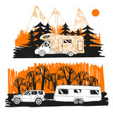 Illustration of autumn landscape with camper van on road top view, motorhome. Family trip. Drawing design for logo trip Stock Image