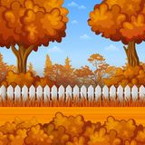 Autumn landscape with wooden fence. Illustration of Autumn landscape with wooden fence royalty free illustration