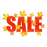 Illustration of autumn seasonal sales. Announcement of sale of the autumn on a background of yellow maple leaves.seasonal autumn sale Royalty Free Stock Images