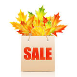 Illustration of autumn seasonal sales. Paper shopping bag with the word sale decorated with autumn maple leaves.shopping bag  on white background.illustration of Stock Photos