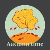 Illustration of autumn tree. stock illustration