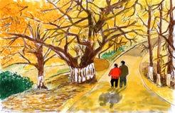 Illustration Autumn walk in the elderly Royalty Free Stock Photo