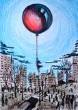 Illustration av abstraktionen Kontur av en ung flicka, svävanden i svart, grå stad och håll en stor röd ballong som svävar i Arkivbilder