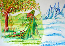 Illustration av abstraktionförskjutningar Kvinnan som symboliserar sommar, kommer och kommer med grönskan, blommorna, solen och v Royaltyfria Foton