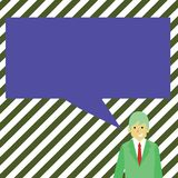 Illustration av affärsmannen Smiling och samtal med den tomma rektangulära anförandebubblan Idérik bakgrundsidé för stock illustrationer