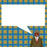 Illustration av affärsmannen Smiling och samtal med den tomma rektangulära anförandebubblan Idérik bakgrundsidé för vektor illustrationer