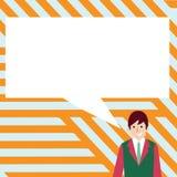 Illustration av affärsmannen Smiling och samtal med den tomma rektangulära anförandebubblan Idérik bakgrundsidé för royaltyfri illustrationer
