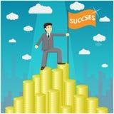 Illustration av affärsmannen som står proudly på den enorma pengartrappuppgången Arkivfoto