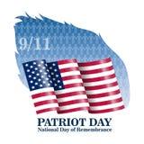 Illustration av affischen för vektorpatriotdag September 11th pappers- bokstäver 2001 på den suddiga USA flaggan royaltyfri illustrationer