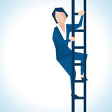 Illustration av affärskvinnan Climbing Ladder Royaltyfri Foto