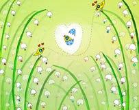 Illustration av allsången för två fåglar på blomman vektor illustrationer