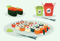 Illustration av asiatisk kokkonst royaltyfri illustrationer