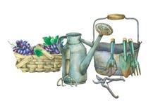 Illustration av att arbeta i trädgården hjälpmedel Royaltyfri Foto