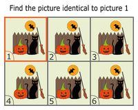 Illustration av att finna två identiska bilder Bildande lek för barn Finna samma vektor illustrationer