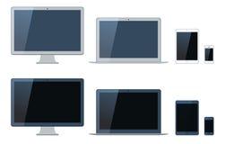 Illustration av bärbara datorn, minnestavladatoren, bildskärmen och mobien Royaltyfria Foton