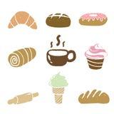 Illustration av bagerisymbolsuppsättningen på vit bakgrund Royaltyfria Bilder