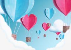 Illustration av ballonger i formen av hjärtaflyget i himlen arkivbilder
