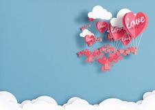 Illustration av ballonger i formen av hjärtaflyget i himlen royaltyfri bild
