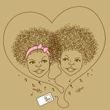 Illustration av barn med spelaren royaltyfri illustrationer