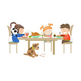 Illustration av barn som äter på en vit Arkivbild