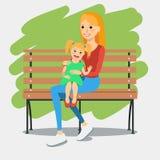Illustration av barnmodern med dottern Stock Illustrationer