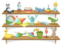 Illustration av barns lager med roliga tecknad filmleksaker på hyllor vektor för set för tecknad filmhjärtor polar stock illustrationer