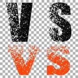Illustration av begreppet vs På isolerad genomskinlig bakgrund bokstäver i abstrakt stil det mitt designelementgallerit ser var g vektor illustrationer