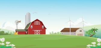 Illustration av bergbygd med den röda lantgårdladugården vektor illustrationer
