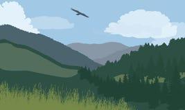 Illustration av berglandskapet med skogen och ängen, under Fotografering för Bildbyråer