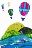 Illustration av berglandskapet och ballonger stock illustrationer