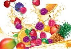 Illustration av blandade frukter och fruktsaft vid OBS vektor illustrationer