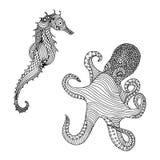 Illustration av bläckfisken och seahorsen Royaltyfri Fotografi