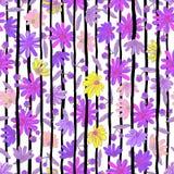 Illustration av blom- sömlöst Färgrika blommor med Arkivbilder