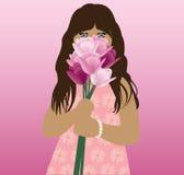 Illustration av blommor för ett flickainnehav Royaltyfri Foto