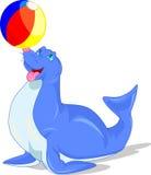 Illustration av cirkusskyddsremsan som spelar en boll Arkivbilder